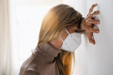 depressed woman with medical face mask crying after corona restrictions impact from covid-19 pandemic outbreak. Conceptual of unemployed woman having negative feelings from Covid-19 Quarantine- Stock Photo or Stock Video of rcfotostock | RC-Photo-Stock