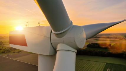Detail of wind turbine, at sunset, copyspace for your individual text.- Stock Photo or Stock Video of rcfotostock | RC-Photo-Stock