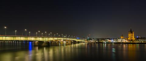 Deutzer bridge at night in cologne panorama- Stock Photo or Stock Video of rcfotostock | RC-Photo-Stock