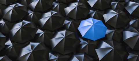Different, unique and standing out of the crowd blue umbrella- Stock Photo or Stock Video of rcfotostock | RC-Photo-Stock