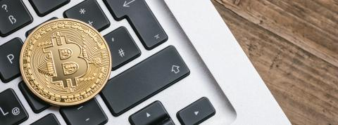 Digital cryptocurrency Bitcoin on a Notebook- Stock Photo or Stock Video of rcfotostock | RC-Photo-Stock