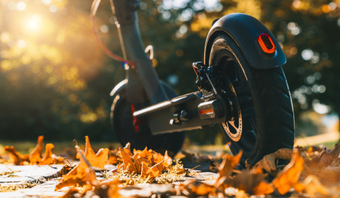 discover the urban city in autumn at sunset with electric scooter or e-scooter, Electric urban transportation concept image- Stock Photo or Stock Video of rcfotostock | RC-Photo-Stock