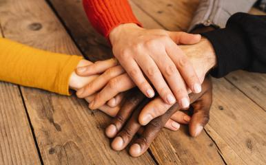 Diverse hands are join together on the wooden table : Stock Photo or Stock Video Download rcfotostock photos, images and assets rcfotostock | RC-Photo-Stock.: