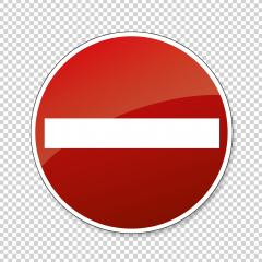Do not enter blank sign. German traffic sign Warning red circle icon of entry on checked transparent background. Vector illustration. Eps 10 vector file.- Stock Photo or Stock Video of rcfotostock | RC-Photo-Stock