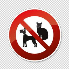 Do not enter with dogs and cats. Dogs, Cats or pets not allowed in this area, prohibition sign on checked transparent background. Vector illustration. Eps 10 vector file. : Stock Photo or Stock Video Download rcfotostock photos, images and assets rcfotostock | RC-Photo-Stock.: