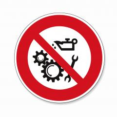 Do not oil or clean when in use. Keep off when operated Lubricate the working mechanisms, prohibition sign, on white background. Vector illustration. Eps 10 vector file.- Stock Photo or Stock Video of rcfotostock | RC-Photo-Stock