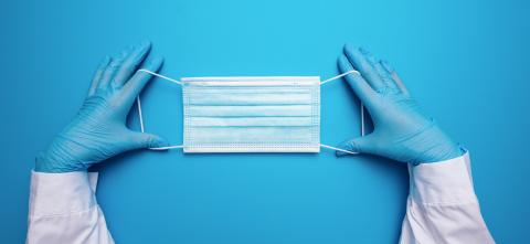Doctor Hands in gloves showing medical face mask on blue background. Preventive measures to protect against Covid-19 Corona virus infection.- Stock Photo or Stock Video of rcfotostock | RC-Photo-Stock