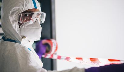 Doctor seals off contaminated area with barrier tape during coronavirus (Coivd-19) epidemic in a clinic at the  intensive care unit : Stock Photo or Stock Video Download rcfotostock photos, images and assets rcfotostock | RC-Photo-Stock.: