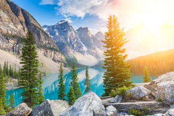 Dramatic Sunrise at Moraine Lake in Banff, Alberta, Canada : Stock Photo or Stock Video Download rcfotostock photos, images and assets rcfotostock | RC-Photo-Stock.: