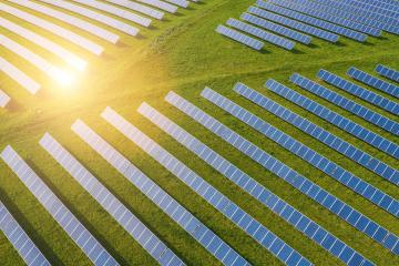 Droneshot of a Solar panel Farm green electricity produced- Stock Photo or Stock Video of rcfotostock | RC-Photo-Stock
