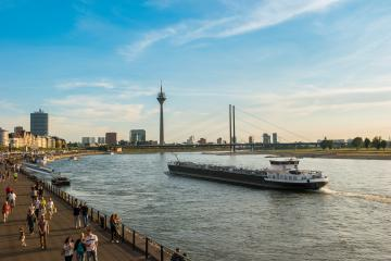 Duesseldorf skyline at summer sunset- Stock Photo or Stock Video of rcfotostock | RC-Photo-Stock