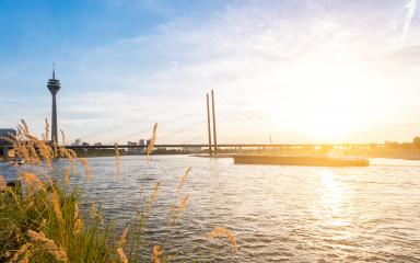 Duesseldorf skyline at sunrise at the rhine, germany- Stock Photo or Stock Video of rcfotostock | RC-Photo-Stock