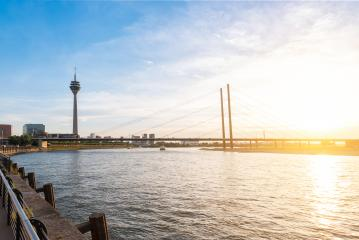 Duesseldorf skyline at sunset at the rhine river- Stock Photo or Stock Video of rcfotostock | RC-Photo-Stock