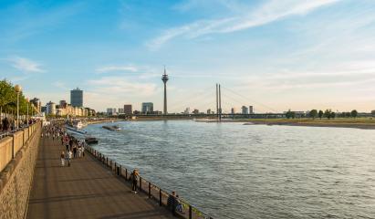 Duesseldorf skyline with Rheinturm and river promenade- Stock Photo or Stock Video of rcfotostock   RC-Photo-Stock