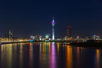 Dusseldorf at night on the rhine river : Stock Photo or Stock Video Download rcfotostock photos, images and assets rcfotostock | RC-Photo-Stock.: