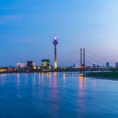 Dusseldorf at sunset blue hour- Stock Photo or Stock Video of rcfotostock | RC-Photo-Stock
