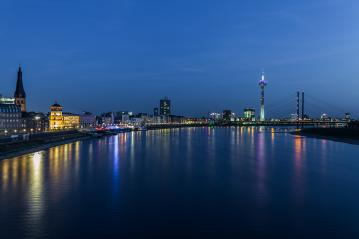 Dusseldorf city skyline at blue hour night : Stock Photo or Stock Video Download rcfotostock photos, images and assets rcfotostock | RC-Photo-Stock.: