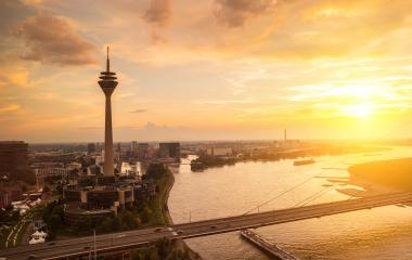 dusseldorf city skyline at sunset- Stock Photo or Stock Video of rcfotostock | RC-Photo-Stock