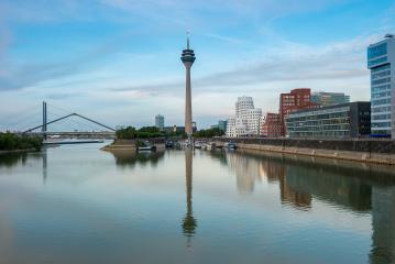 Dusseldorf city skyline at sunset, germany- Stock Photo or Stock Video of rcfotostock   RC-Photo-Stock