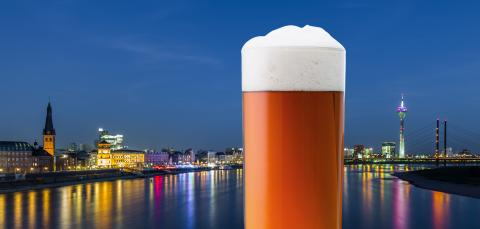 Dusseldorf city skyline with old beer in a glass : Stock Photo or Stock Video Download rcfotostock photos, images and assets rcfotostock | RC-Photo-Stock.: