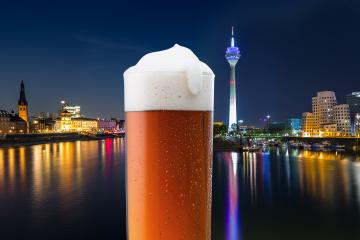 Dusseldorf city with old beer glass at night : Stock Photo or Stock Video Download rcfotostock photos, images and assets rcfotostock | RC-Photo-Stock.: