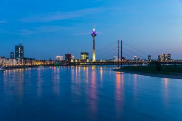 Dusseldorf cityscape at blue hour night : Stock Photo or Stock Video Download rcfotostock photos, images and assets rcfotostock | RC-Photo-Stock.: