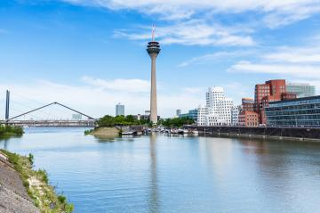Dusseldorf cityscape at summer with view on media harbor, Germany- Stock Photo or Stock Video of rcfotostock | RC-Photo-Stock