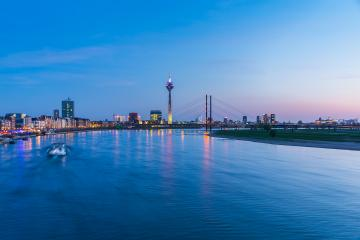 Dusseldorf cityscape at the rhine river on sunset : Stock Photo or Stock Video Download rcfotostock photos, images and assets rcfotostock | RC-Photo-Stock.: