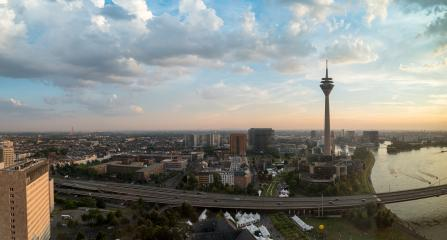 Dusseldorf cityscape panorama at sunset- Stock Photo or Stock Video of rcfotostock | RC-Photo-Stock