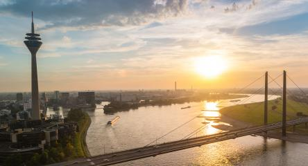 Dusseldorf cityscape sykline view at sunset- Stock Photo or Stock Video of rcfotostock | RC-Photo-Stock