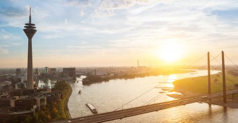 Dusseldorf cityscape sykline view at sunset : Stock Photo or Stock Video Download rcfotostock photos, images and assets rcfotostock | RC-Photo-Stock.: