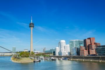 Dusseldorf cityscape with view on media harbor : Stock Photo or Stock Video Download rcfotostock photos, images and assets rcfotostock | RC-Photo-Stock.:
