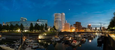 dusseldorf media harbor at night panorama- Stock Photo or Stock Video of rcfotostock | RC-Photo-Stock