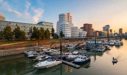 dusseldorf media harbor at summer sunset- Stock Photo or Stock Video of rcfotostock | RC-Photo-Stock