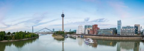 Dusseldorf media harbor panorama at sunset- Stock Photo or Stock Video of rcfotostock | RC-Photo-Stock
