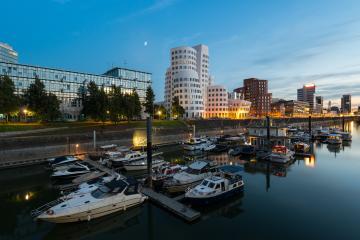 Dusseldorf Media Harbor with buildings of Neuer Zollhof- Stock Photo or Stock Video of rcfotostock | RC-Photo-Stock
