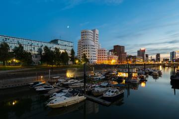 dusseldorf media medienhafen at sunset with moon- Stock Photo or Stock Video of rcfotostock | RC-Photo-Stock