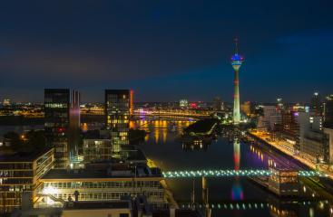 Dusseldorf Medienhafen at night (Germany)- Stock Photo or Stock Video of rcfotostock | RC-Photo-Stock