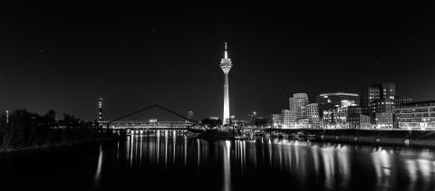 Dusseldorf night panorama in black and white : Stock Photo or Stock Video Download rcfotostock photos, images and assets rcfotostock | RC-Photo-Stock.: