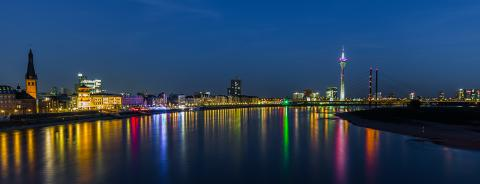 Dusseldorf night skyline panorama : Stock Photo or Stock Video Download rcfotostock photos, images and assets rcfotostock | RC-Photo-Stock.: