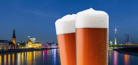 Dusseldorf night skyline with old beer glasses- Stock Photo or Stock Video of rcfotostock | RC-Photo-Stock