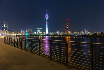 Dusseldorf rhine Promenade at night : Stock Photo or Stock Video Download rcfotostock photos, images and assets rcfotostock | RC-Photo-Stock.: