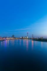 Dusseldorf skyline at blue hour night at the rhine river- Stock Photo or Stock Video of rcfotostock | RC-Photo-Stock