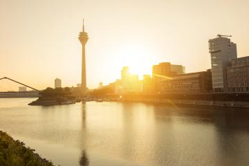 dusseldorf skyline at sunrise- Stock Photo or Stock Video of rcfotostock | RC-Photo-Stock