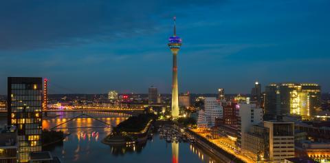 Dusseldorf Skyline night Skyline- Stock Photo or Stock Video of rcfotostock | RC-Photo-Stock