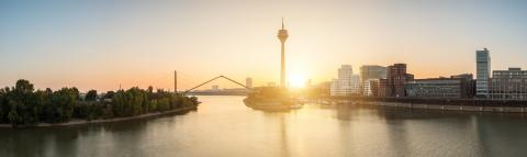 dusseldorf skyline panorama at sunrise- Stock Photo or Stock Video of rcfotostock | RC-Photo-Stock