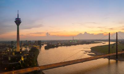 Dusseldorf Skyline view at Sunset- Stock Photo or Stock Video of rcfotostock | RC-Photo-Stock