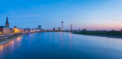 Dusseldorf sunset cityscape panorama- Stock Photo or Stock Video of rcfotostock | RC-Photo-Stock