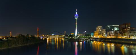 Dusseldorf with media harbor at night panorama  : Stock Photo or Stock Video Download rcfotostock photos, images and assets rcfotostock | RC-Photo-Stock.: