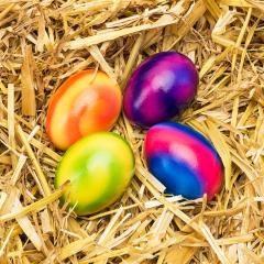 easter eggs in a straw nest- Stock Photo or Stock Video of rcfotostock | RC-Photo-Stock